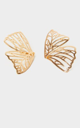 Gold Butterfly Earrings   Accessories   PrettyLittleThing USA