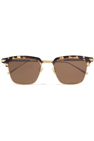 Bottega Veneta | Square-frame gold-tone and tortoiseshell acetate sunglasses | NET-A-PORTER.COM