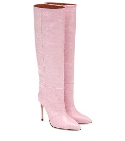 Croc-Effect Leather Knee-High Boots - Paris Texas | Mytheresa
