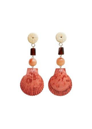 MANGO Combined shell earrings