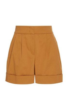 Alberta Ferretti Pintucked Cotton-Stretch Shorts