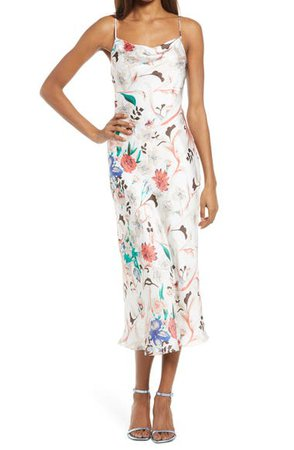 Lulus Must Be Fate Floral Satin Midi Dress | Nordstrom