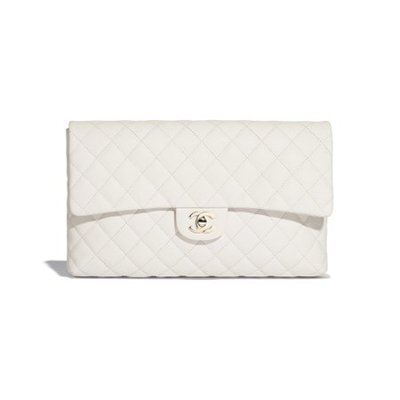 Grained Calfskin Gold-Tone Metal White Clutch | CHANEL