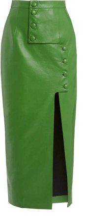 MATERIEL Button-Detailed Faux Leather Midi Skirt