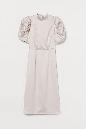 Puff-sleeved Satin Dress - Pink