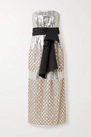 Bow-detailed Embellished Silk Midi Dress - Ivory
