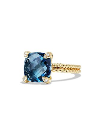 David Yurman Châtelaine® Ring with Gemstone and Diamonds in 18K Gold | SaksFifthAvenue