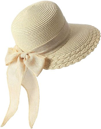 Elegant Wide Brim Floppy Sun Hat, Beach Hat for Women, Beige