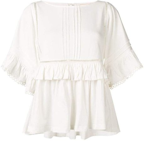 Semicouture frill-trim embroidered top