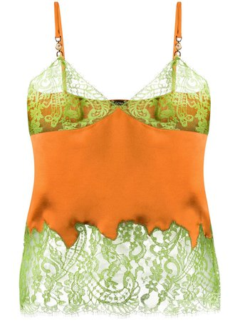 orange & green Versace lace-trimmed cami top with Express Delivery - Farfetch