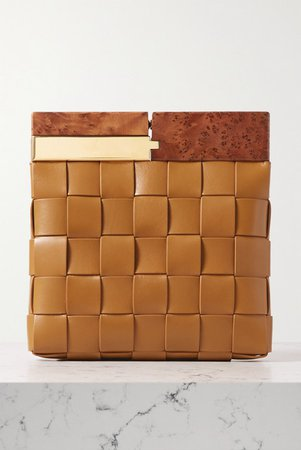 Bottega Veneta | Wood and intrecciato leather clutch | NET-A-PORTER.COM