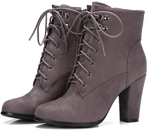 MIOKE Women's Round Toe Martin Ankle Boots Suede Lace Up Zipper Chunky Block High Heel Dressy Short Booties   Ankle & Bootie