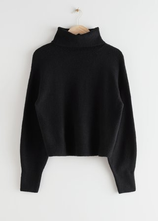 Oversized Cut Out Turtleneck Sweater - Black - Turtlenecks - & Other Stories