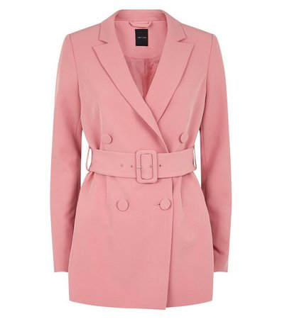 Pale Pink Double Breasted Belted Blazer | New Look