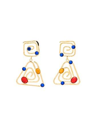 Rixo Shea Swirled Gemstones Drop Earrings - Farfetch