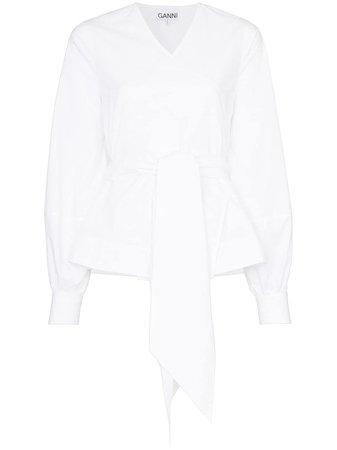 Ganni Tie-Waist Wrap Blouse F4057 White | Farfetch