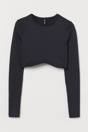 Cropped Jersey Top - Black