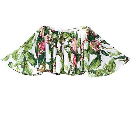 Guka Botanical Shoulder Chiffon Blouse