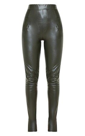 Khaki Faux Leather Split Hem Skinny Trouser | PrettyLittleThing