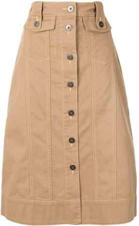 Bapy Buttoned Midi Skirt
