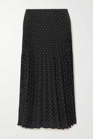 Pleated Polka-dot Silk Crepe De Chine Midi Skirt - Black