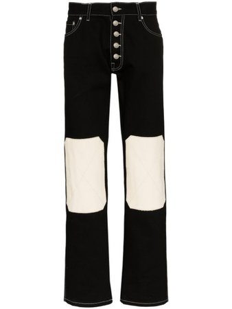 Linder Knee-Patch Straight Jeans SS20M203 Black | Farfetch