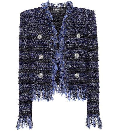 Fringe-trimmed bouclé jacket
