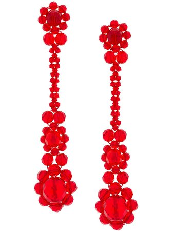 Simone Rocha Victorian Drop Earrings ERG110903 Red | Farfetch