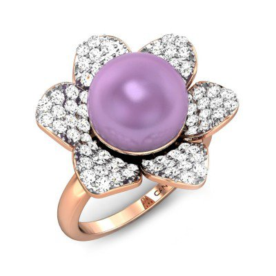 Sea Flower Mauve Pearl Ring Online Jewellery Shopping India | Rose Gold 18K | Candere by Kalyan Jewellers