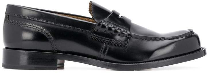 College scalloped edge low heel loafers