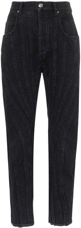 seam detail high-waist jeans