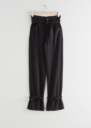 Belted Paperbag Waist Trousers - Black - Trousers - & Other Stories