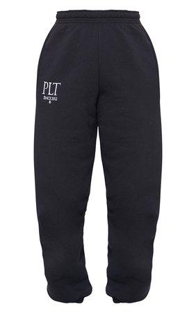 Plt Black Established Slogan Casual Joggers | PrettyLittleThing USA