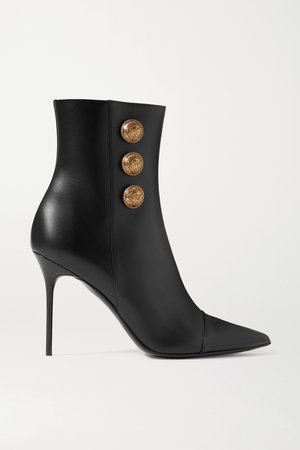 Black Button-embellished leather ankle boots | Balmain | NET-A-PORTER