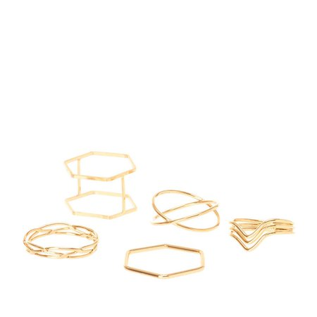 Gold Geometric Midi Ring Set | Claire's US