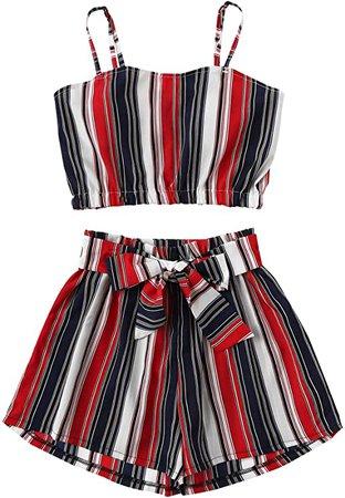 SweatyRocks Women's 2 Piece Outfits Boho Striped Sleeveless Crop Cami Top with Shorts