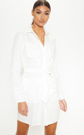 Tall White Utility Tie Waist Shirt Dress | PrettyLittleThing USA