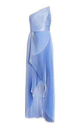 Plissé Lamé One-Shoulder Maxi Dress by SemSem | Moda Operandi