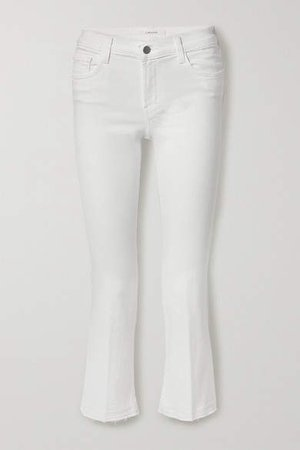 Selena Frayed Mid-rise Bootcut Jeans - White