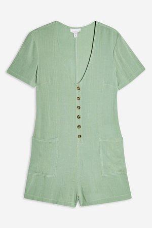 Green Button Playsuit | Topshop green