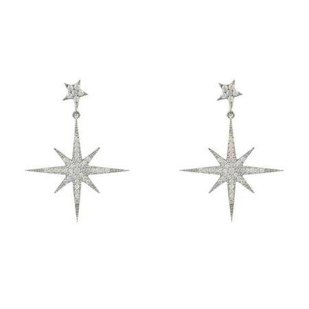 Petite Star Burst Drop Earring Silver | Latelita London | Wolf & Badger