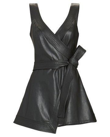 Alexis Risley Vegan Leather Wrap Romper | INTERMIX®
