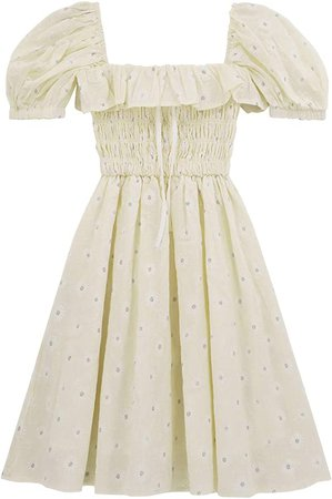 R.Vivimos Women's Summer Linen Short Sleeve Ruffled Floral Print Swing Dress at Amazon Women's Clothing store