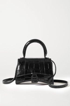 Black Hourglass nano croc-effect leather tote | Balenciaga | NET-A-PORTER