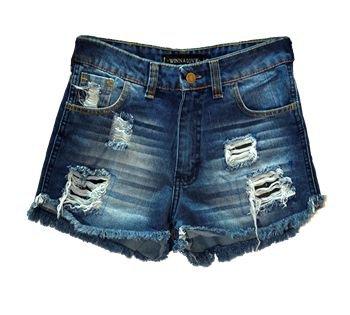 Dark-Wash Denim Shorts (Distressed)