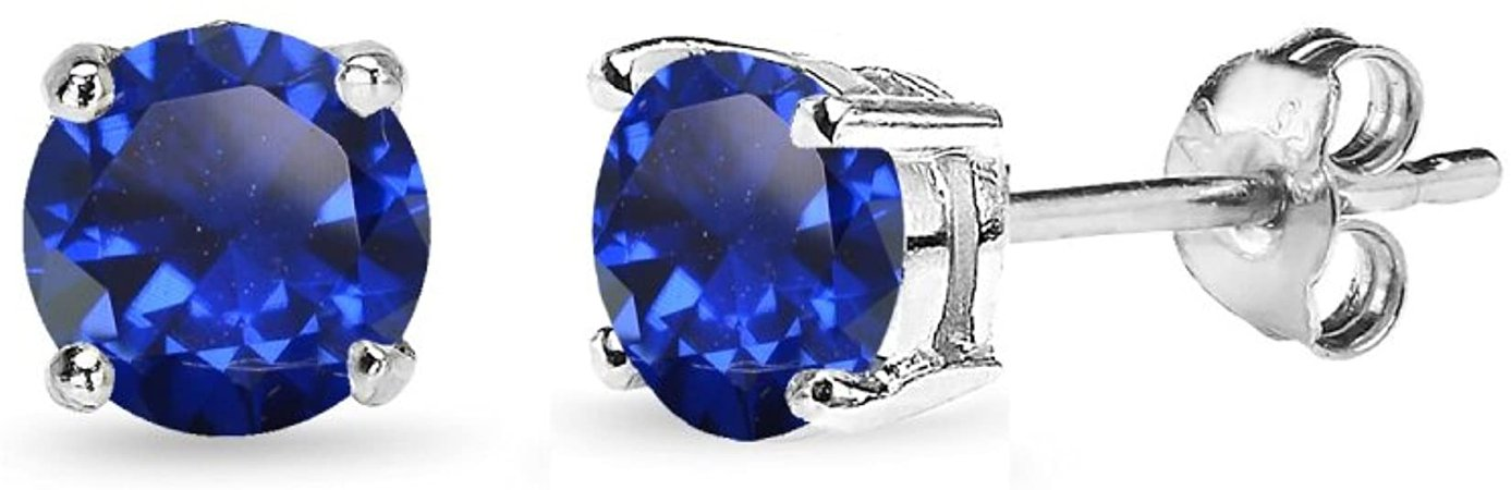 Amazon.com: Sterling Silver Created Blue Sapphire 5mm Round-Cut Solitaire Stud Earrings: Clothing