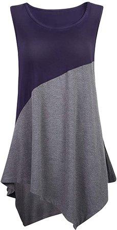 Necery Women's Sleeveless Tunic Top Color Block Shirt for Leggings 4X Black ArmyGreen at Amazon Women's Clothing store