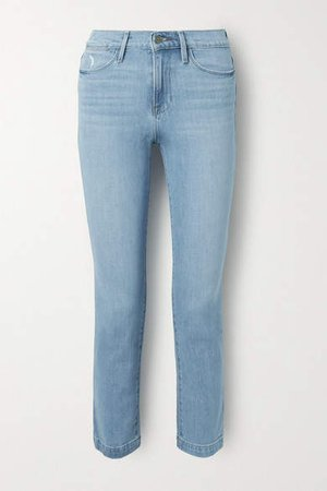 Le High Distressed Straight-leg Jeans - Light denim