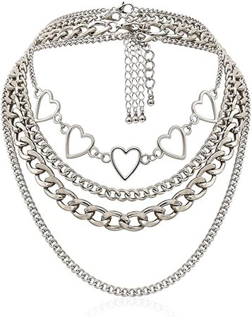 Amazon.com: Simple Hearts Necklace Lolita Choker Chain for Girls Women Layered Cuban Chunky Chain Necklace Chic Style Wedding Dress Jewelry (Silver 1): Jewelry