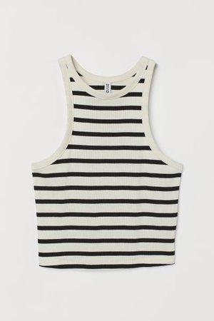 Ribbed Tank Top - Natural white/striped - Ladies | H&M US